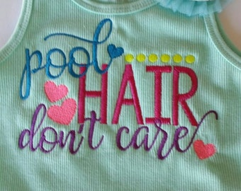 Girl's Embroidered T-shirt  - Pool Hair Don't Care  - Custom made to order