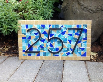 Mosaic House Number Sign in Blue and Beige