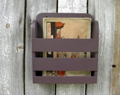 RESERVED Small Wooden New Design Solid Color Plum Wall Magazine Rack Menu Holder Vintage Design