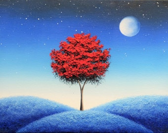 Blue Art, Photo Print of Blue Night Painting, Red Tree Art Poster, Starry Night Sky with Full Moon Picture, Fantasy Landscape Wall Decor