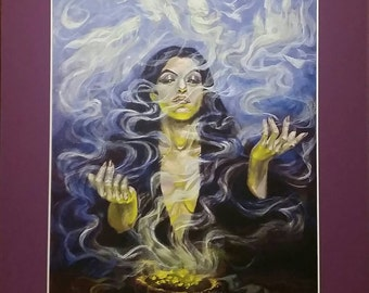 """Incense of the Seer - Print of Original Painting, matted to 11"""" x 14"""""""
