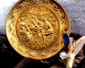 Antique Brass Platter,  Vintage Brass Platter, Antique Vintage Brass Wall Plate, Cabin Decor, English Cottage Decor ** Epsteam ** Treasury