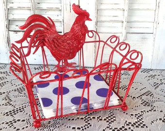 Metal Rooster Napkin Holder / Red Cottage Chic Farmhouse Kitchen Countertop