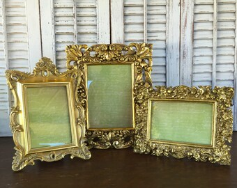 3 Metallic Gold Picture Frames - 4x6 - French Inspired Ornate Table Top Desk Top Mantel Frames - Hollywood Regency