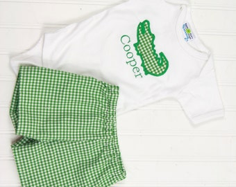 Baby Boy Outfit - Boys Shorts - Gingham Shorts - Alligator Shirt - Summer Shorts Outfit - Baby Boy Clothes - Toddler Boy Clothes - Gator