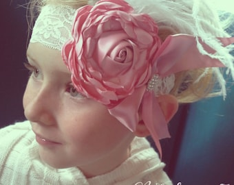 Ready 2 Ship FREE US Shipping Dusty Rose Vintage Flower Feather Headband - Pink Tea Party Lace Rosette Satin Rhinestone Wedding Flower Girl