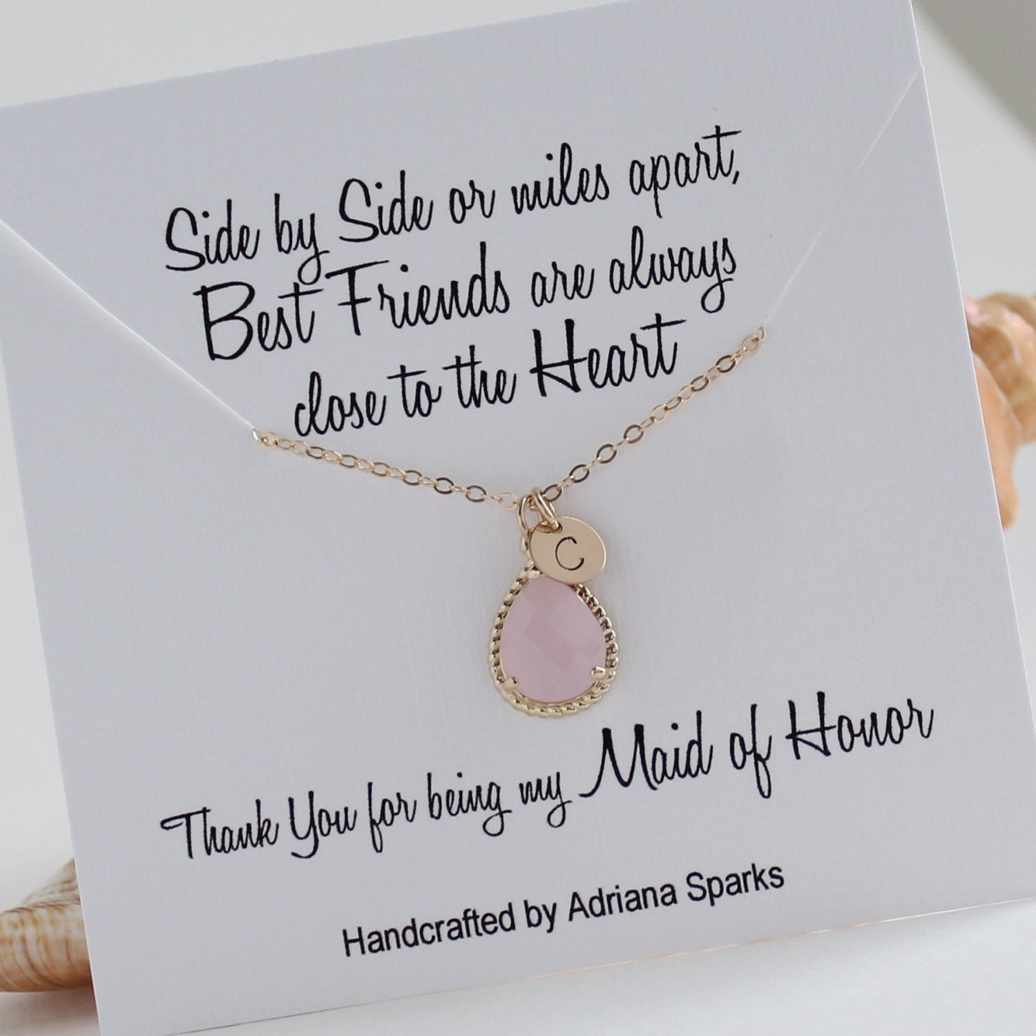 Personalized Maid Of Honor Gift Gold & Pink Initial Necklace