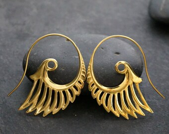 Large Feather Earrings - 18K Gold - Goddess