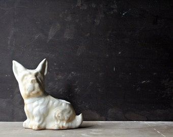 Vintage 1950s Dog Planter - Scottie Terrier, White Home Decor, Shabby Chic Cottage, For Dog Lovers, Ceramic Bookend, Repurposed Home Decor
