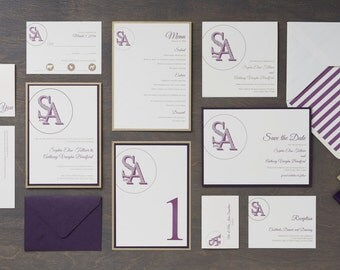 CHELSEA Wedding Invitation Suite, Modern, Script, Monogram - SAMPLE