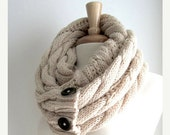 SALE Infinity Loop Scarf Braided Cable Knit Neckwarmer Beige Cream Scarves with Buttons Women Girls Accessories