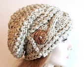 SALE Slouchy Beanie Cabled Slouch Hats Wood Button Braided sideways Cable Hat womens fall winter accessory Oatmeal Grey Flecks Hand Made Kni