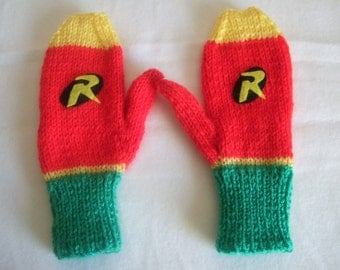 Hand knitted Boys Novelty Robin Batman, Superhero Mittens, Gloves .To fit approx 6-8 year old. Holiday gift,Christmas Gift. Fall, Winter