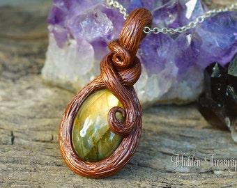 Woodland Gemstone Necklace Labradorite handmade polymer clay pendant elf fairy trinket fantasy cosplay jewelry