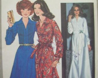 1970s Evening Length Dress Day Length Dress Pattern Vintage Simplicity 8249 Size 12