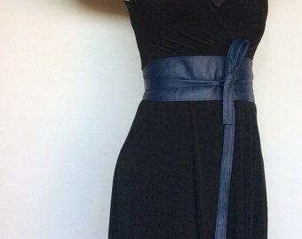 Wrap Dark Blue Leather Obi Belt - Unique Wide Belts - Women Tie Belt - Wraparounds Urnan Belts - Streetstyle