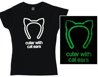 Cuter with Cat Ears T-Shirt - Glow in the Dark - Ladies & Mens T-Shirts - Cute T-Shirts - Clothing - Black T-Shirt - Cat Gifts