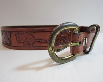 Tooled Leather Squirrel & Acorn Belt - Men's Leather Tooled Belt - Men's Leather Belt