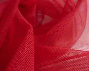 Bright Scarlet Red Tulle fine net fabric 150cm wide - by the metre suitable for prom, underskirt, veil, pleating & ruching UK SELLER