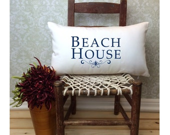 Beach Pillow, Beach House Pillow, Beach Decor, Lumbar Pillow, Cabin Pillow, Gift Pillow, Oblong Pillow, Nautical Pillow, Long Pillow