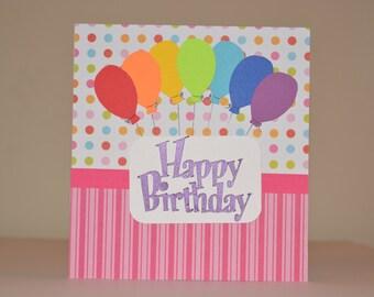 Rainbow Balloons Birthday Card