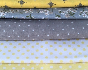 Yellow White Cotton Flannel Fabric 5 Coordinating Fat Quarters Calico Polka Dot Floral