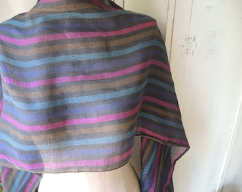 Vintage scarf striped slightly sheer  14 x 82 inches
