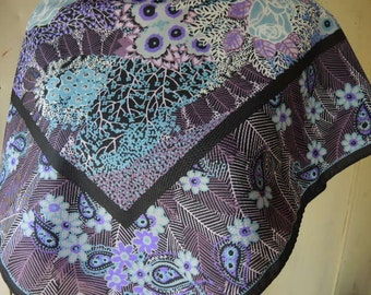Vintage 1970s polyester scarf abstract purple floral extra large  30.5 x 31.5 inches