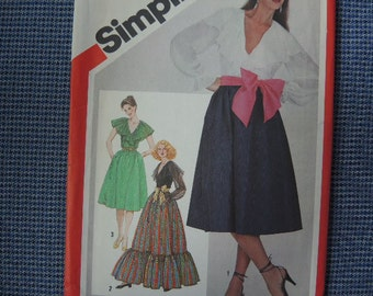vintage 1980s simplicity sewing pattern 5327 misses skirt in two lengths front wrap blouse and sash size 12 UNCUT