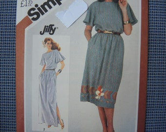 vintage 1980s Simplicity sewing pattern 5501 misses jiffy pullover dress size 10-12 UNCUT