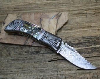 SALE! Damascus Pocket Knife with Abalone Handle, Handmade with Custom File Work, FREE Priority Shipping