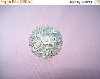 SALE 60% Off Sparkly beaded brooch, vintage 3D brooch