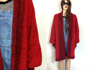 Curly Knit Vintage 80's Sweater Slouchy Sweater 80's Cardigan Minimalist Sweater Red and Black Sweater Oversized Long Sweater 80's Clothing