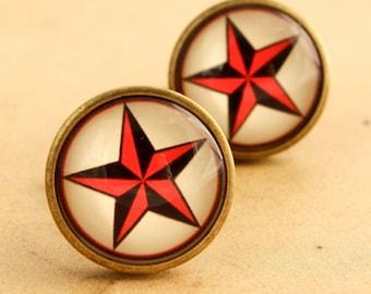 Sailor Jerry Cufflinks - Mens Rockabilly Red & Black Star Cuff Links Vintage