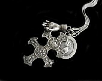Vintage Cross of Lorraine Pendant , Large, Very Detailed , Sacred Hearts,Virgin Mother
