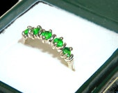 Green Topaz Ring, Emerald Green Band, Natural Stone, Over 1/2 Carat