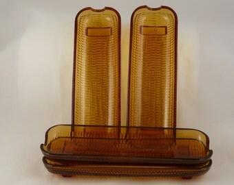 Corn plates, amber glass, corn platters, corn on the cob, set of four
