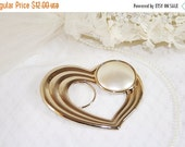ON SALE 10% OFF Goldtone Heart Shaped Scarf Clip Faux Pearl Accent Vintage Heart Scarf Clip
