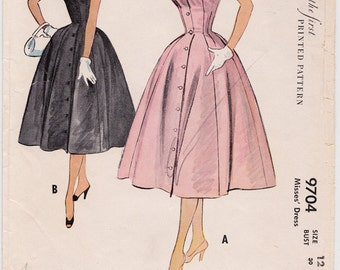 50s Princess Seam Full Skirt Dress Vintage Sewing Pattern - McCall 9704 - Size 12, Bust 30, Missing Fac