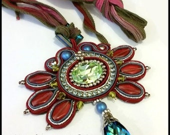 Soutache Pendant in Red, Demin Blue, Silver and Green