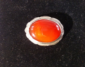 Sterling Silver Brooch Pendant With Large Amber Stone