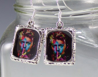 David Bowie Earrings Picture Jewelry Colorful