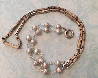 Vintage Chain for Antique Locket, White Gold Watch Chain Necklace with Blue Pearls Sweetheart Lane Original Design