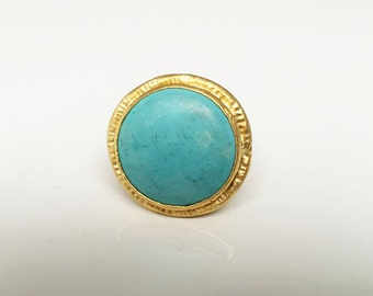 handmade, gold plated, adjustable ring, ring, stone, semi-precious stone, 22k, gold, turquoise
