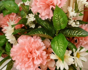 Floral Arrangement, Silk Flowers of Pink Carnations, White Daisies and Pink Azaleas in a unique Wicker Deep Mauve Basket