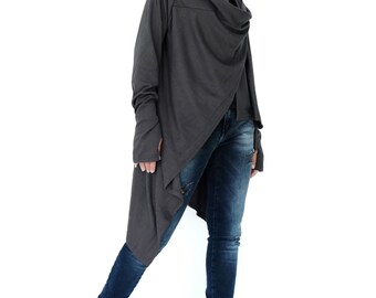 NO.61 Dark Bluish Grey Cotton-Blend Jersey Versatility Cardigan, Wrap Top, Women's Cardigan