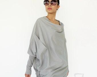 NO.59 Dusty Gray Cotton Jersey  Batwing Tunic, Loose Asymmetrical  Sweater, Women's Top