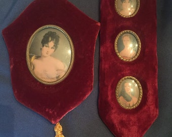 Velvet framed cameo print sets