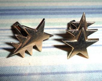 Vintage Signed Swank Gold Tone Triple Shooting Star Three Stars Mens Shirt Cufflinks Cuff Links 1950s Retro