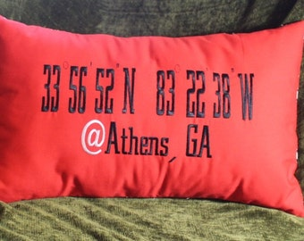 Embroidered Georgia Throw Pillow  - 23 x 13 College Location Lumbar Pillow